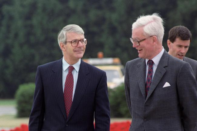 Then-prime minister John Major with foreign secretary Douglas Hurd