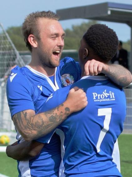 Goalscorers - Tony Stokes (left) and Manny Ogunrinde celebrate Picture: PETER JACKSON