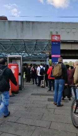 Problems - queues like these at Basildon train station have become common
