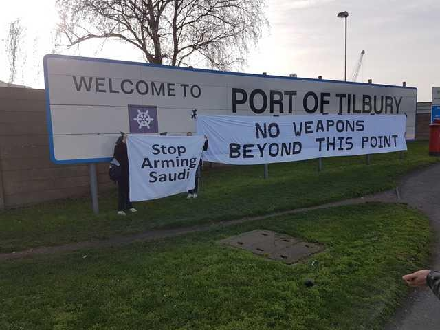 Arms shipment arriving at Essex dock will be confronted by protesters