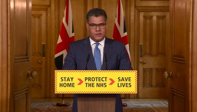 RETRANSMITTED AMENDING TITLE Screen grab of Business, Energy and Industrial Strategy Secretary Alok Sharma speaking during a media briefing in Downing Street, London, on coronavirus (COVID-19). PA Photo. Picture date: Wednesday April 1, 2020. See PA story