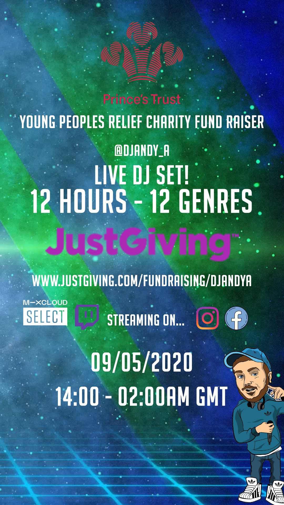 The Prince's Trust Young Peoples Relief Just Giving Fund Raiser - STAY AT HOME 12 Hours 12 Genres Live DJ Stream