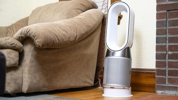 Thurrock Gazette: Air purifiers, like the Dyson Pure Hot Cool, draw air in using a series of fans, send it through mechanical, chemical, and electrical filters, and then pass the clean air back out into the room. Credit: Reviewed.com / Betsey Goldwasser