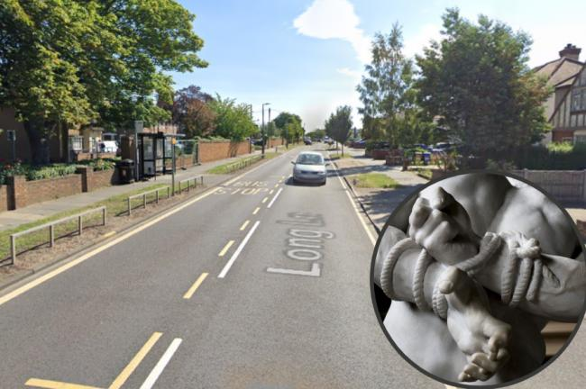 The incident happened in Long Lane, Grays. Inset: stock image