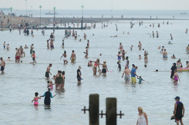 People enjoying the hot weather at Southend beach back in August
