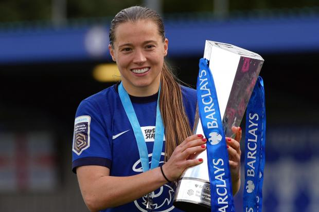 Chelsea's Fran Kirby celebrates with the FA Women's Super League trophy