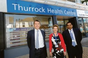 Marc Davis, director of primary care at NHS South West Essex, Lesley Hicks and Reshad Ghoorun outside the new centre