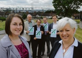 The Gazette's Jasmin McDermott and Thurrock MP Jackie Doyle-Price launch the campaign by the QEII Bridge, with councillors Mike Revell, Mark Coxshall, Ben Maney and James Halden