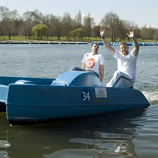 Andrew Flintoff and Steve Harmison set the pedalo world record
