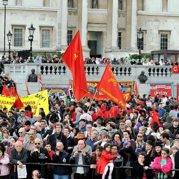 A group of demonstrators during 2011's Trades Union May Day rally in Trafalgar Square, London