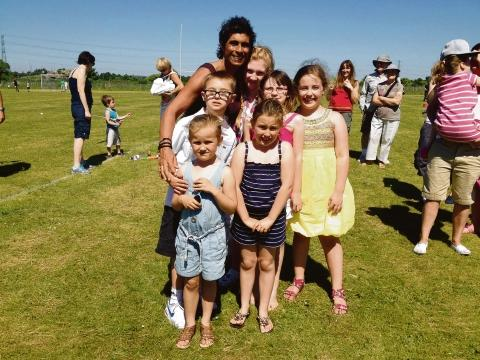Fatima Whitbread with youngsters