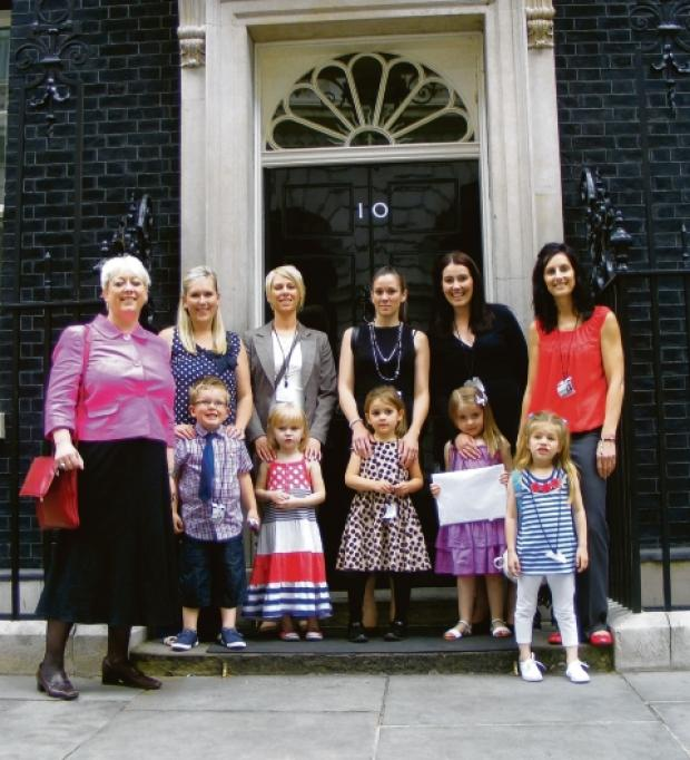 Parents and pupils with Jackie Doyle-Price MP at Number 10