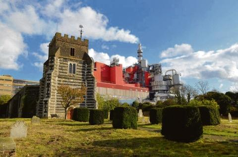 St Clement's Church, with the P&G factory in the background
