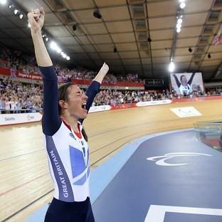 Great Britain's Sarah Storey celebrates winning Gold during the Women's Individual C4-5 500m Time Trial at the Velodrome in the Olympic Park