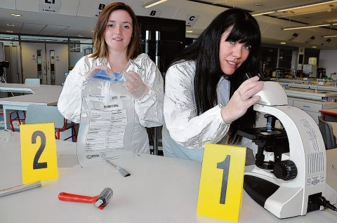 Women in science – Rebecca Wells, 18, and Donna Boulden, 33, on the South Essex College forensics degree course