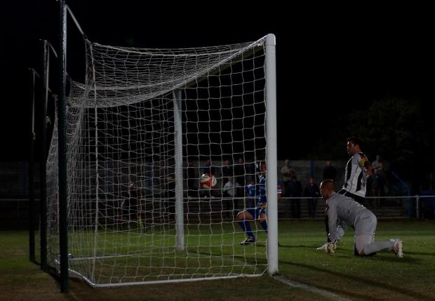 Joe Sweeney gives Grays the lead after 14 minutes [Pic: Mikey Cartwright]