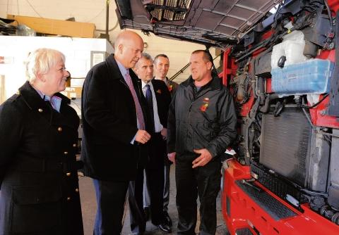 Justice Secretary Chris Grayling and MP Jackie Doyle-Price at DBS Commercials in West Thurrock