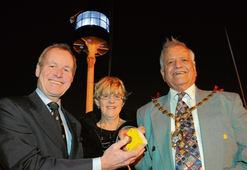Cllr Joy Redsell was joined at the lighting up ceremony by Thurrock mayor Yash Gupta and Sir Jeremy de Halpert, from maritime safety organisation Trinity House