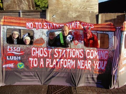The protest at Grays railway station on Tuesday