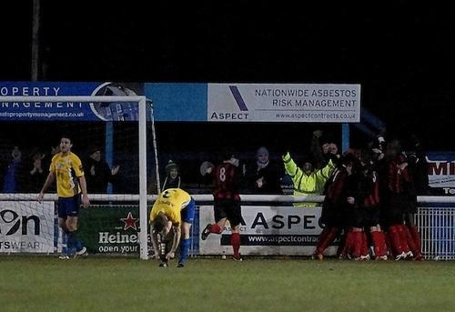 Jubilant: Players celebrate with fans after Danny Bunce goal [PIC: MIKEY CARTWRIGHT]