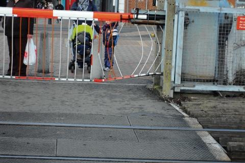 The barrier at Grays station