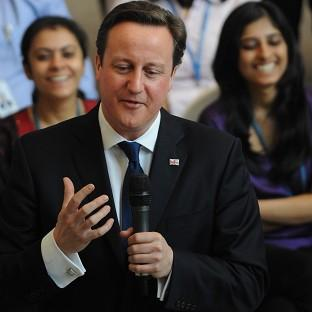 David Cameron holds a question and answer session with Unilever employees at its headquarters in Mumbai