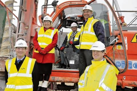 Graham Farrant, Angela O'Donoghue, Yash Gupta, Steve Arthrell, of Skanska, and Duncan Jackson, of Persimmon at the ground breaking ceremony