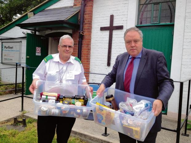 Richard Howitt, right, with Laurence Martin at the Foodbank