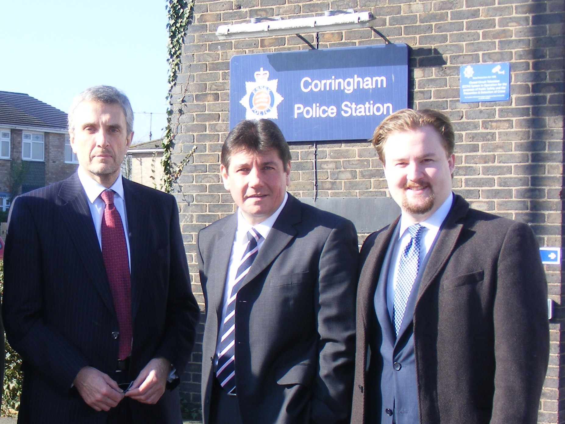Police and Crime Commissioner Nick Alston outside Corringham police station with East Thurrock MP Stephen Metcalfe and Cllr James Halden