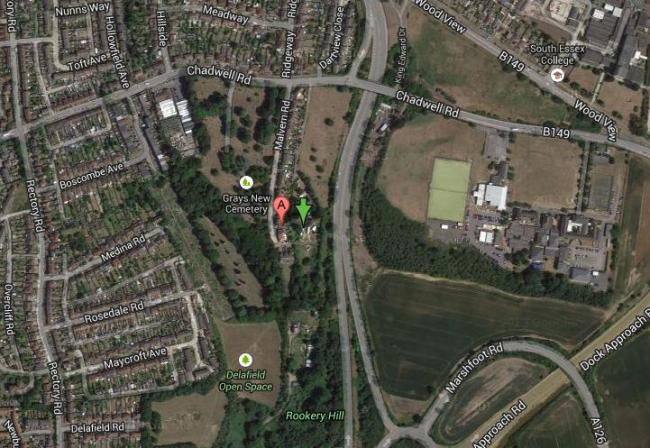 Location of the controversial travellers site in Little Thurrock