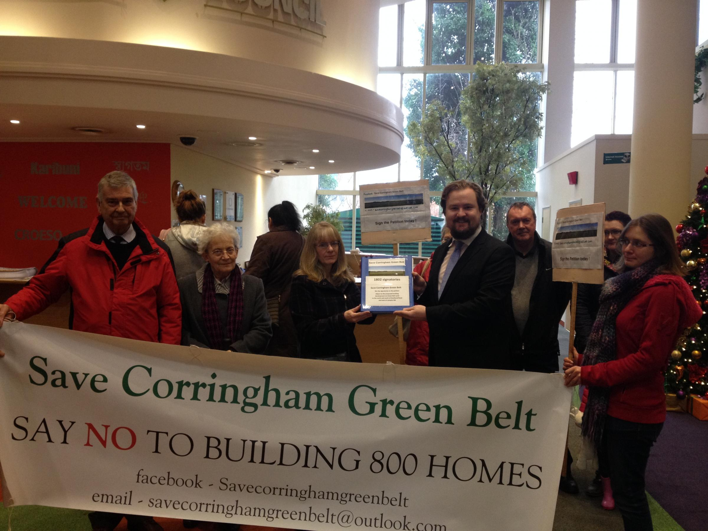 Cllr James Halden with Corringham campaigners delivering petition to council offices
