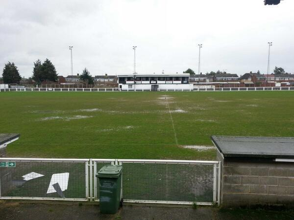The pitch at Tilbury's Chadfields home ground at 1pm on Friday...before yet more rain fell on the borough [Pic: Paul Vaughan/Twitter]