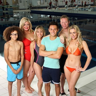 Left to right: Perri Kiely, Gemma Collins, Michaela Strachan, Tom Daly, Ricky Groves and Gemma Merna, who will be appearing in the first heat of  ITV celebrity dive show Splash. (ITV)