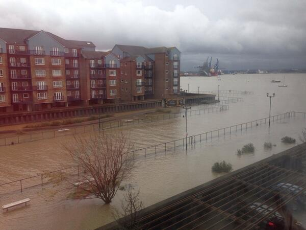 High water levels cause flooding at Grays Wharf [Pic: Emma Webster/Twitter]