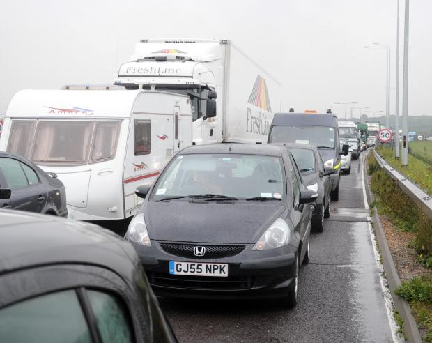 Thurrock Gazette: Huge queues on M25 as mobile crane breaks down at Dartford tolls