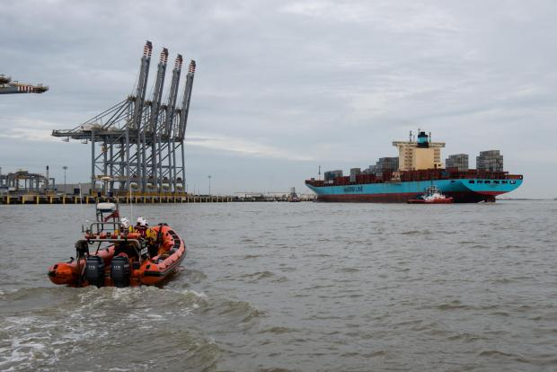 Thurrock Gazette: The Gudrun Maersk docking at London Gateway