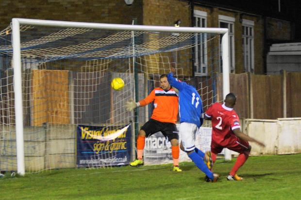 Joao Carlos equalises for Grays on Tuesday night [Pic: Peter Jackson]