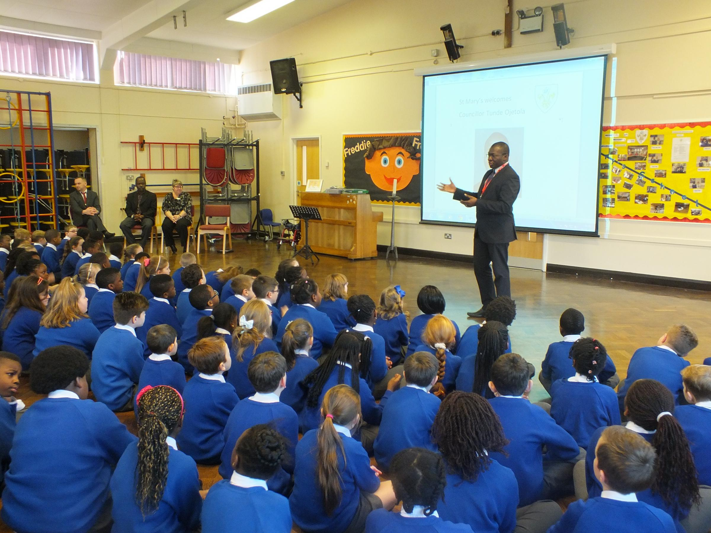 Councillor Tunde Ojetola takes questions from the pupils