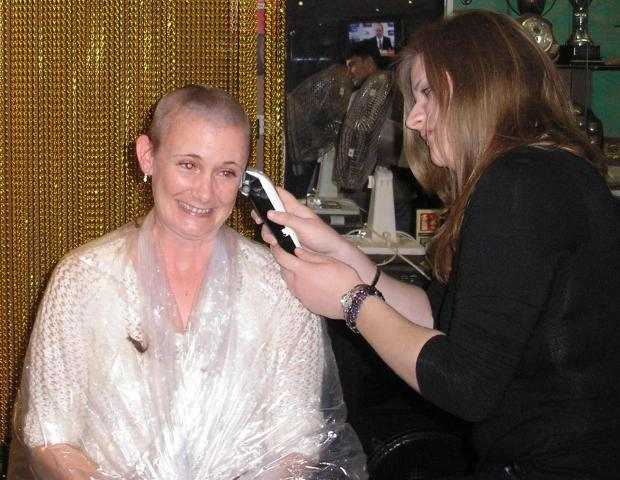 Amanda shaved her head to raise money for the Children's Liver Disease Foundation.
