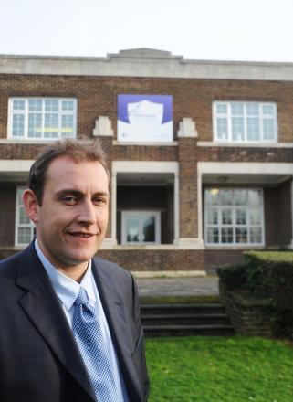 James Howarth outside the Hathaway Academy in Grays