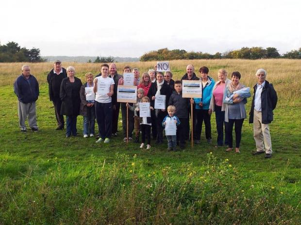 Campaigners from Save Corringham Greenbelt at the site for the proposed homes.