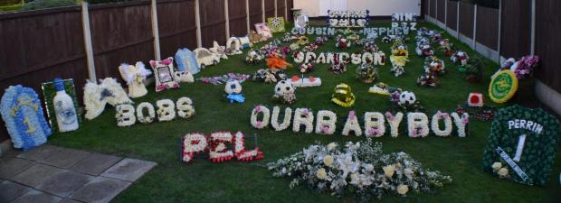 Thurrock Gazette: floral tribute in the garden of Steven Perrin's home