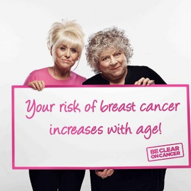 Thurrock Gazette: Actresses Barbara Windsor and Miriam Margoyles are supporting a new Be Clear on Cancer campaign (Public Health England)