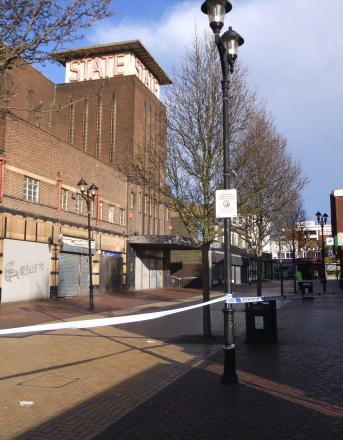 The police cordon around the State cinema on Saturday