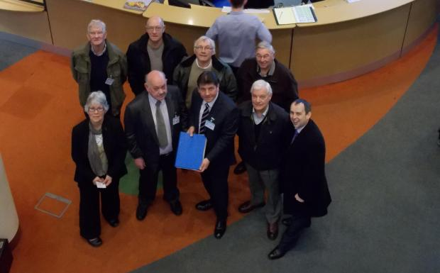 Thurrock Gazette: MP Stephen Metcalfe with the petition and members of Frost Estate Residents' Association