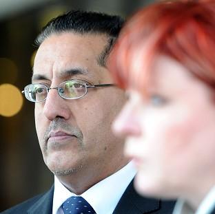 Nazir Afzal with Detective Chief Superintendent Mary Doyle outside Manchester Crown Court after a successful prosecution