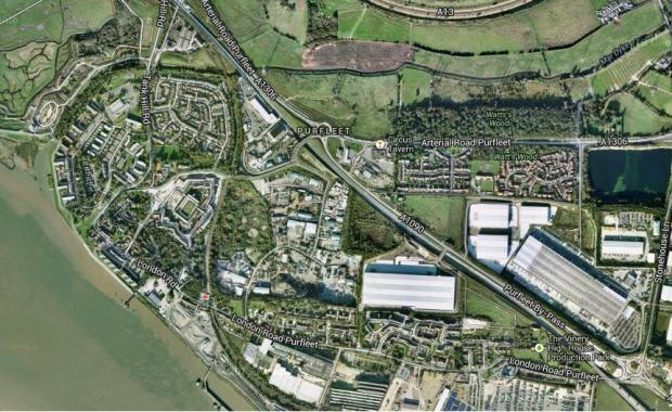 Thurrock Gazette: map of purfleet