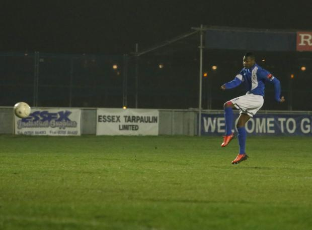 Joao Carlos gives Grays Athletic the lead [Pic: Andy Smith]