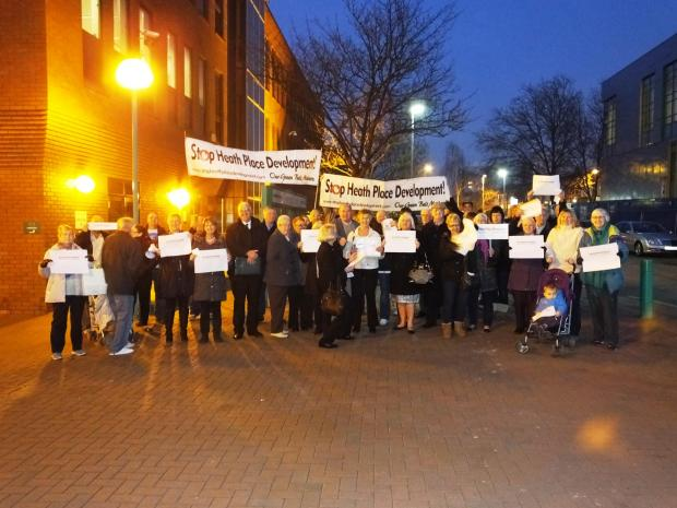 Campaigners outside the Civic Offices before the meeting. Photo by Rob Lay.