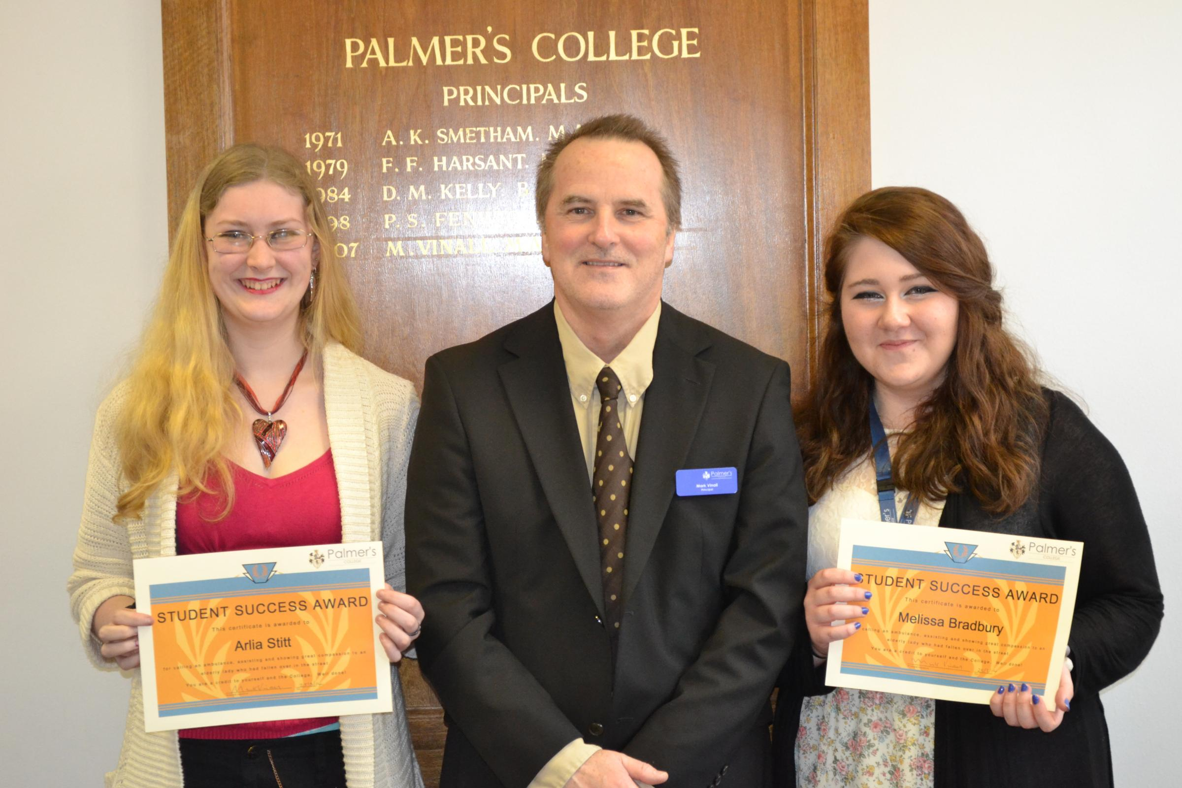 Good Samaritans – Arlia, left, and Melissa with Palmer's College principal Mark Vinall